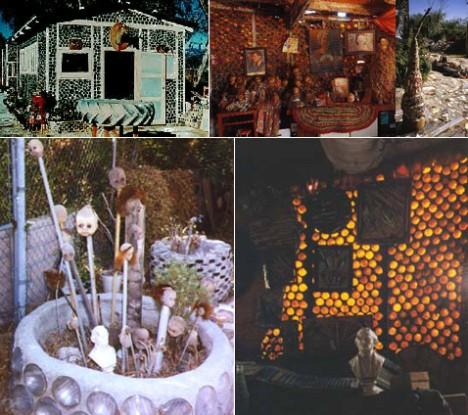 """Grandma Prisbrey's Bottle Village в Сими Вэлли (Simi Valley), Калифорния. Построена Трессой Присбри (Tressa Prisbrey), известной как """"бабушка"""", в 1950-х. Несколько бутылочных домов были созданы специально для размещения богатой коллекции авторучек и кукол Трессы. Ныне """"Вилла бабушки Присбри """" — одна из достопримечательностей США"""