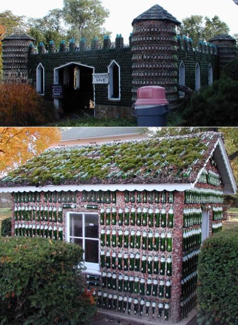 Rockome Gardens, Аркола (Arcola), Иллинойс. Сам этот необычный парк был открыт в 1940-х, а в 1960-х владельцы парка возвели здесь небольшую крепость и несколько домиков из пустых бутылок